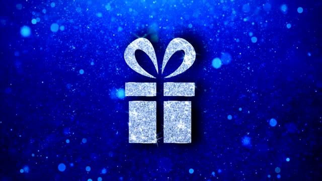 レッドリボンギフトボックスプレゼントアイコン点滅輝く輝く輝くパーティクル。 - アイコン プレゼント点の映像素材/bロール