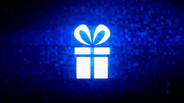red ribbon gift box present symbol digital pixel noise error animation. - symbol filmów i materiałów b-roll