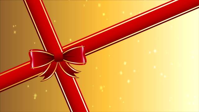 vidéos et rushes de ruban rouge cadeau, animation vidéo, hd 1080 - ligoté