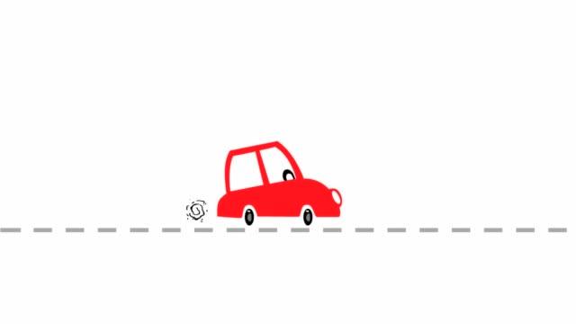 rot reiten cartoon auto animation - drive illustration stock-videos und b-roll-filmmaterial