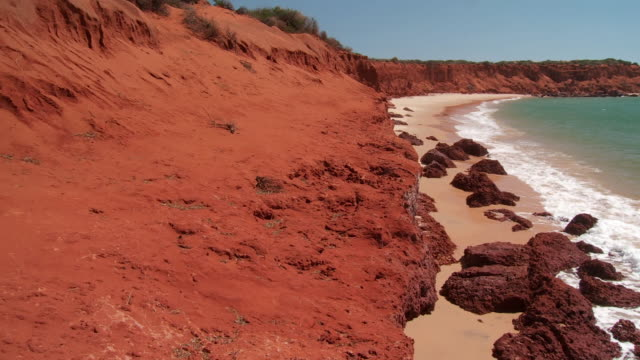 ws pan red rock coastline on beach / denham, western australia, australia  - red rock video stock e b–roll