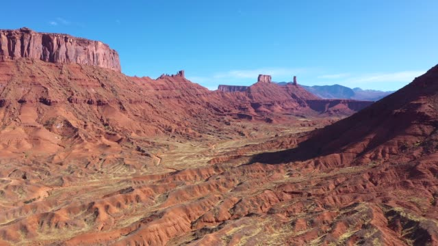Red Rock Monuments Butte In Gorge Colorado River Canyon Aerial View