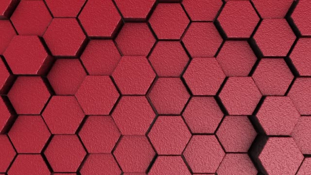 Red rough hexagonal motion background. 3d render of simple primitives with six angles in front