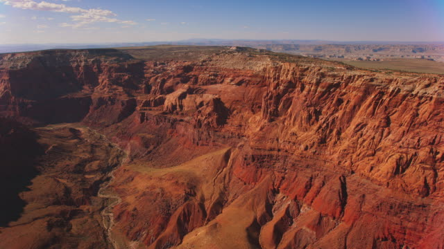 AERIAL Red sandstone cliffs in Grand Canyon, USA
