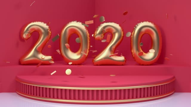 red scene holiday christmas new year concept 3d rendering motion 2020 number