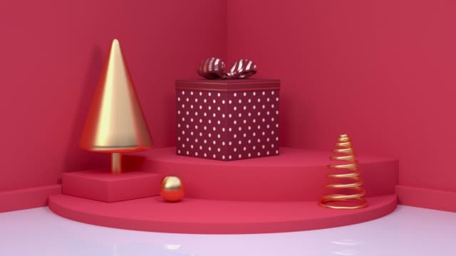 red scene holiday christmas new year concept 3d rendering motion gift box video