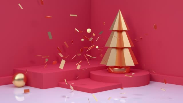 red scene holiday christmas new year concept 3d rendering motion christmas tree video