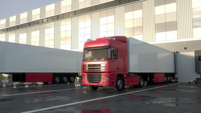 Red semi-trailer trucks leaving from warehouse loading dock. Seamless Loop