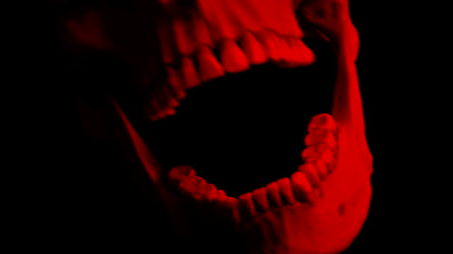 Red Skull Opens Mouth Eats Camera POV - 4 Versions Human skull opens mouth and swallows viewer - 4 versions skull stock videos & royalty-free footage