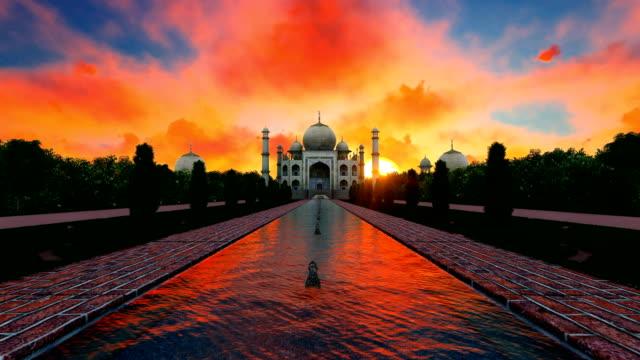 Red sky at sunset over Taj Mahal India