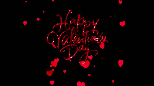 red sparkle glitter happy valentine day word shape with red heats shape rise flowing on black background with alpha channel matte, holiday festive valentine day event love - valentines day stock videos and b-roll footage