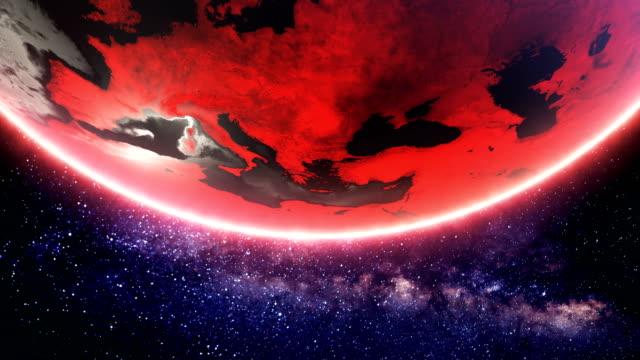 vídeos de stock e filmes b-roll de red spinning earth  (loopable) - apocalipse