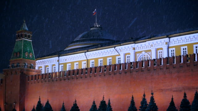 Red Square and Kremlin at snowy night View of Moscow Kremlin wall and Kremlin Senate with Russian flag over it at night during snow storm. russian culture stock videos & royalty-free footage
