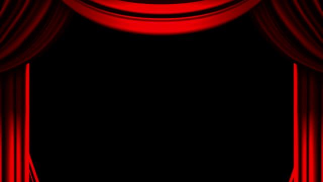 rosso sipario su sfondo nero - sipario video stock e b–roll