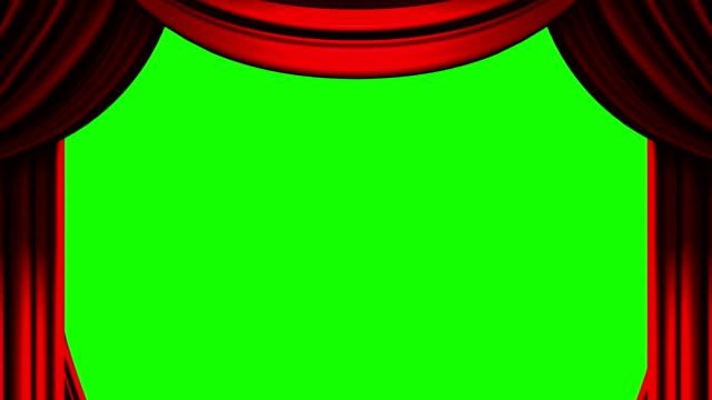 rosso sipario sul tasto verde chroma - sipario video stock e b–roll