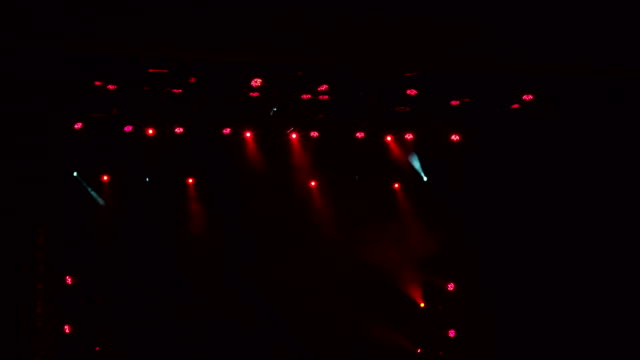 Red stage lights, light show at the concert. video