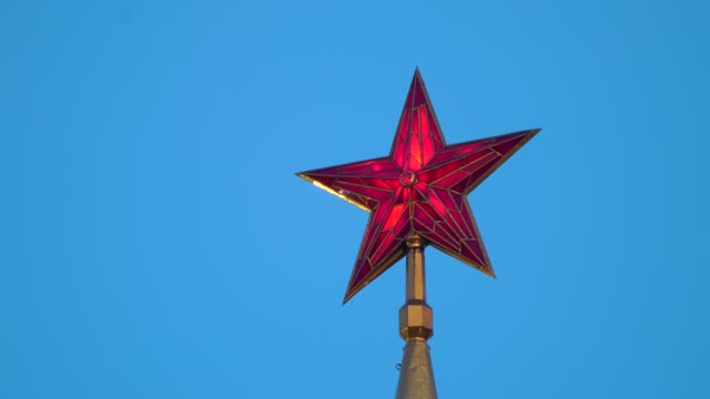 Red Star of the Spasskaya Tower of Kremlin in Moscow, Russia in 4k