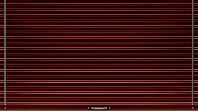 Red storage door closes and opens. Loop ready animation with mask included. gate stock videos & royalty-free footage