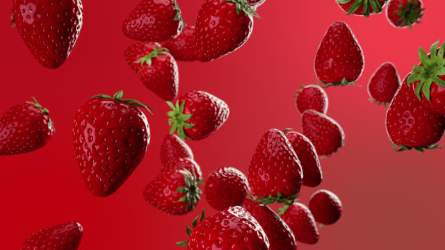 Red Strawberry fruit drop down falling from top. 3D animation. Selective focus. 4K