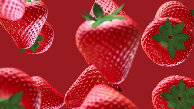 vídeos de stock e filmes b-roll de red strawberry fruit drop down falling from top on isolated background - morango