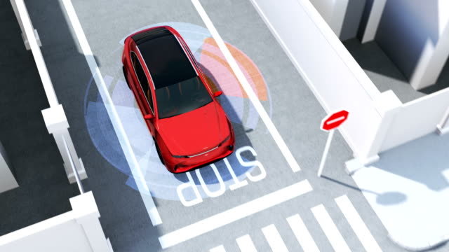 vídeos de stock e filmes b-roll de red suv in one-way street detected vehicle in the blind spot - ignorância