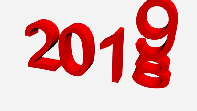 vidéos et rushes de texte en rouge changeant de 2018 à 2019 - 2018
