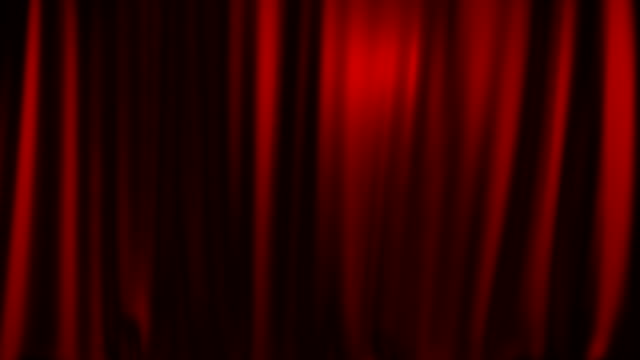 Red theater curtain entering from above with matte video