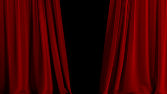 Red theater curtain open. With alpha channel video