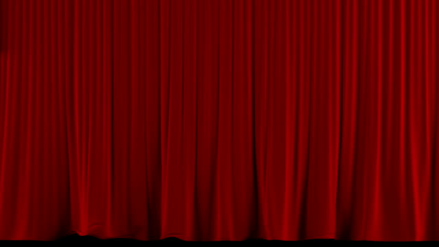 Red theater curtain rise/open. With alpha channel video