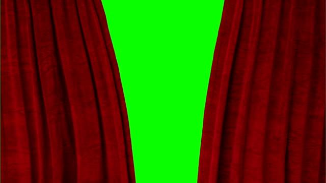 vidéos et rushes de rideaux de théâtre rouge ouverture d'écran vert laisse - rideaux