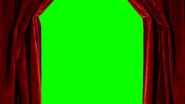 vídeos y material grabado en eventos de stock de cortina roja teatro apertura para mostrar pantalla verde - cortina