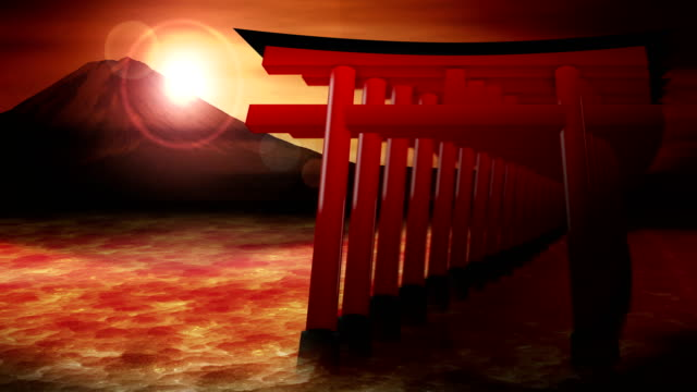 Red Torii Gates in Japan, Mt Fuji from Lake, Loop Animation, video