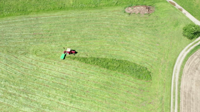 Red Tractor Hay Cutter Aerial View