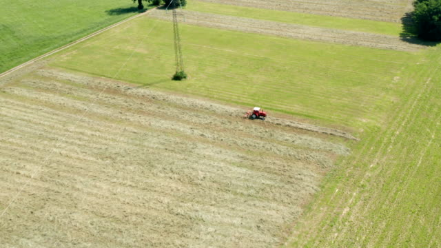 Red Tractor Hay Tedder Aerial View