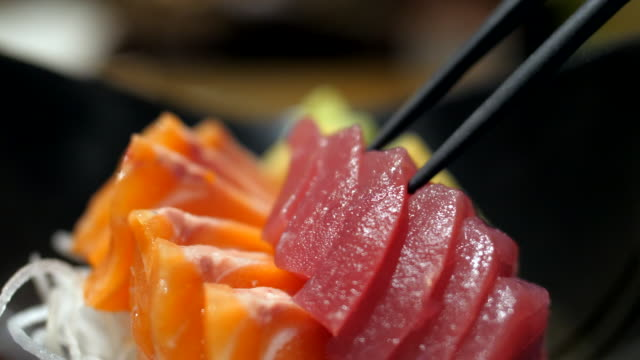 Red Tuna Sashimi Eating, Japanese Ethnicity, Fish, Sashimi, Food sashimi stock videos & royalty-free footage