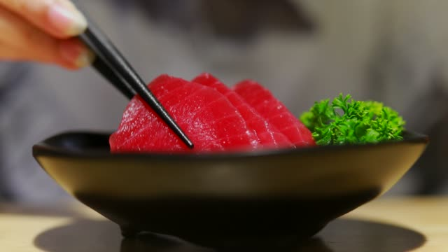 Red Tuna Sashimi Tuna,Japan, 4K Resolution, Chopsticks, Color Image, Dipping tuna seafood stock videos & royalty-free footage