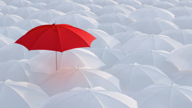 Red umbrella standing out from crowd mass concept Red umbrella open and standing out from crowd mass white umbrellas, design background text concept, high point, with color mask individuality stock videos & royalty-free footage
