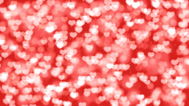Red Valentine Hearts Bokeh Looped Animation Background. video