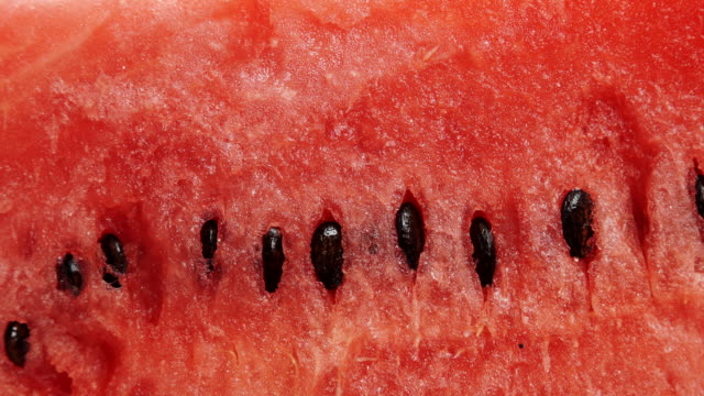 Red watermelon fruit as food background 4K Closeup of fresh red watermelon fruit as background. Healthy food organic nutrition. Dolly slider shot 4K ProRes HQ codec watermelon stock videos & royalty-free footage