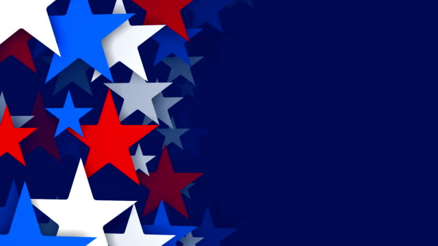 Red, White and Blue Stars Zooming by, Vertical Composition (Loopable)