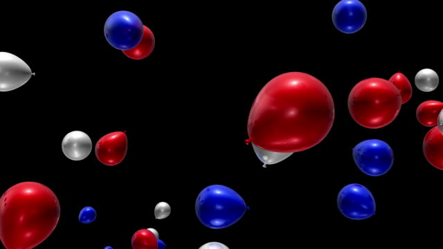 Red, White & Blue Balloons Falling Loop