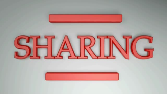 SHARING red with horizontal lines going from one side to the other - 3D rendering video clip
