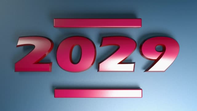 2029 red write isolated on blue background - 3D rendering illustration video clip The write 2029 in red numbers, isolated on blue background - 3D rendering illustration video clip 2020 2029 stock videos & royalty-free footage