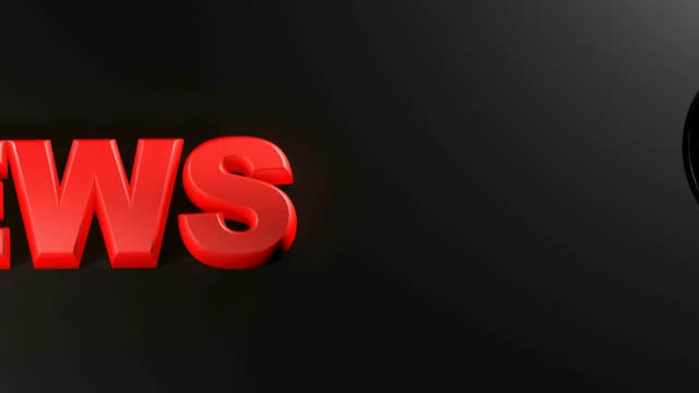 NEWS red write with magnifier passing over it - 3D rendering animation