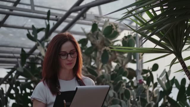 Red-haired woman in the garden with succulents studies the plants