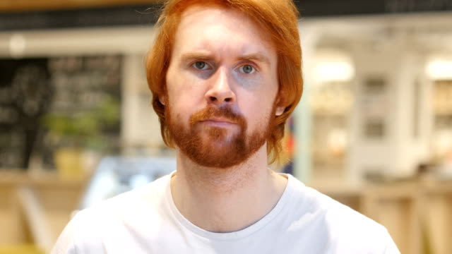 Redhead Beard Man Shaking Head to Reject Offer, No Redhead Beard Man Shaking Head to Reject Offer, No disgust stock videos & royalty-free footage
