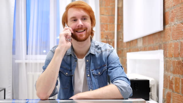 Redhead Beard Man Talking on Phone, Attending Phone Call video