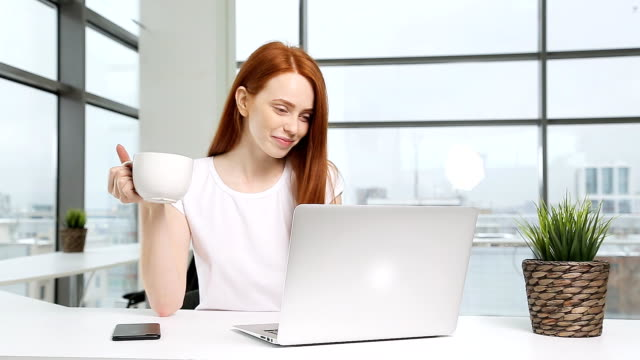 redhead girl working at laptop in office - touchpad video stock e b–roll