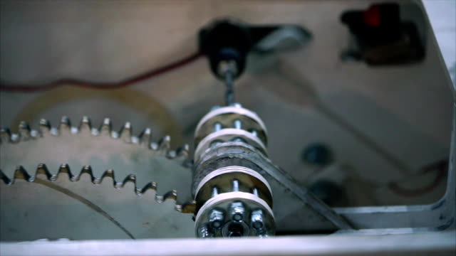 Reducer. Gear gears moving and interacting with each other. Close up view video