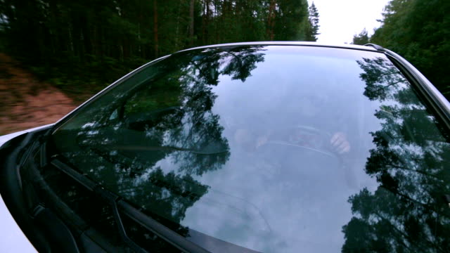 Reflection in Windscreen. Car drives through forest. On-board-camera video